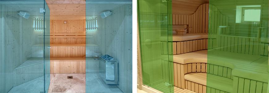 Цветные стеклянные двери в баню